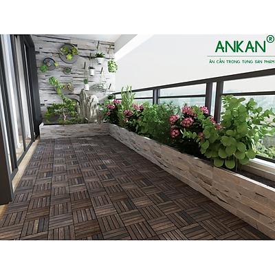 10 tấm ván sàn gỗ vỉ nhựa dùng để lắp đặt sàn ban công - Loại 6 nan - Gu màu đen - Hàng Chính Hãng