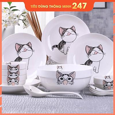 Bộ 15 món chén đĩa gốm sứ cao cấp 4 người ăn - Tặng kèm bộ đũa và miếng lót xinh xắn - Họa tiết mèo con
