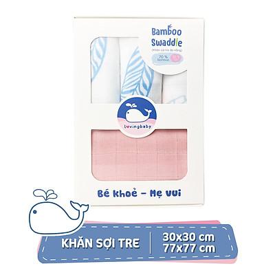 Khăn sữa cho bé Lovingbaby-Siêu thấm hút-Mềm mịn-An toàn cho da bé_set 1 khăn 77x77cm và 3 khăn 30x30cm