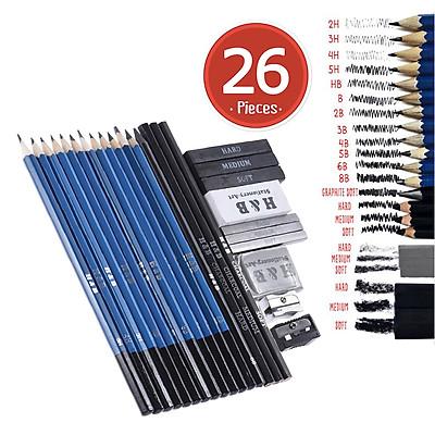26pcs Professional Drawing Sketch Pencil Kit Set Including Sketch Pencils Graphite & Charcoal Pencils Sticks Erasers