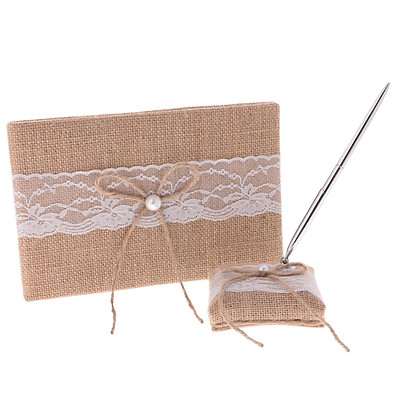 Burlap Rustic Wedding Ceremony Guest Book Pen Holder Set with Lace Bow Decor