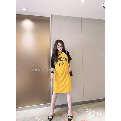 váy suông nữ, đầm suông cộc tay phối in chữ n.y.c chất cotton 2 màu