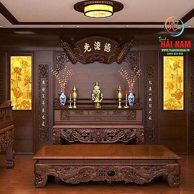 Tranh dán tường 3D phòng thờ - tranh phòng thờ - tranh phòng thờ hoa sen
