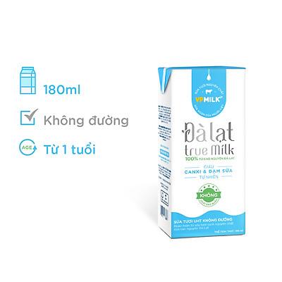 Sữa Tươi Đà Lạt True Milk Không Đường Hộp 180ml (Thùng 48 Hộp)