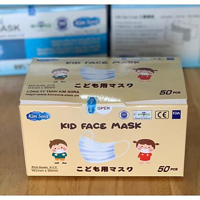 Khẩu trang y tế Kim Sora 3 lớp cho trẻ em tiêu chuẩn Nhật Bản, màu trắng, hộp 50 chiếc
