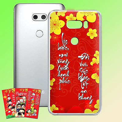 Ốp lưng điện thoại LG V30 - 01253 7989 HOAMAI02 - Tặng bao lì xì Mừng Xuân Canh Tý - Silicon dẻo - Hàng Chính Hãng