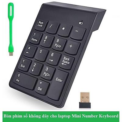 ( Tặng 1 đèn led cắm cổng USB ) Bàn phím số không dây 18 phím thích hợp dùng cho nhiều thiết bị Laptop Máy Tính Xách Tay