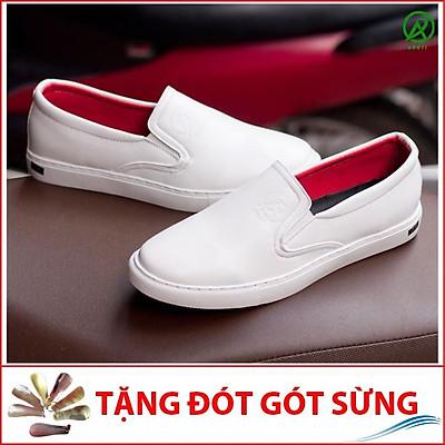 Giày Slip On Nam Aroti Đế Khâu Chắc Chắn Phong Cách Đơn Giản Màu Trắng - M498-TRANG(ĐG)-Kèm Đón Gót Sừng
