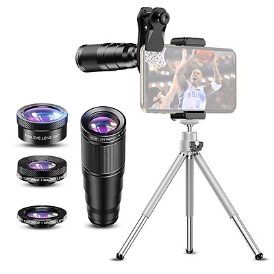 APEXEL APL-22X105-4IN1 Metal Phone Camera Lens 22X Telephoto Lens Fisheye Lens Wide Angle Lens Macro Lens Polarization