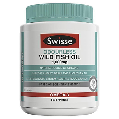 Swisse Ultiboost Odourless Wild Fish Oil 1000mg 500 Capsules Exclusive Size
