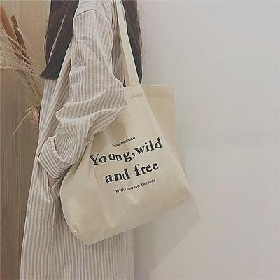 Túi tote tote vải canvas họa tiết chữ phong cách hàn quốc tiện dụng