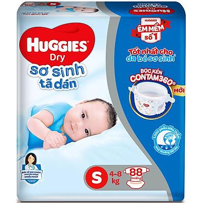 Tã Dán Sơ Sinh Huggies S88 (Từ 4kg - 8kg) - Gói 88 miếng miếng - Bao bì mới
