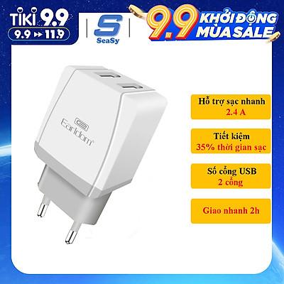 Củ sạc Earldom ES-195, 2 cổng USB, sạc nhanh 2.4A, dùng cho Iphone, Samsung, Oppo, Xiaomi - hàng chính hãng