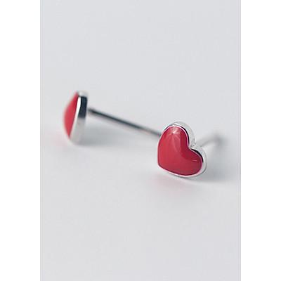 Khuyên tai bạc tim đỏ E5870