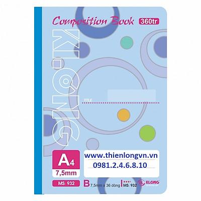 Sổ may dán gáy A4 - 360 trang; Klong 932 bìa xanh biển