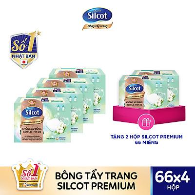 Bộ 4 Bông tẩy trang cao cấp Silcot Premium hộp 66 miếng tặng 2 hộp Silcot cùng loại