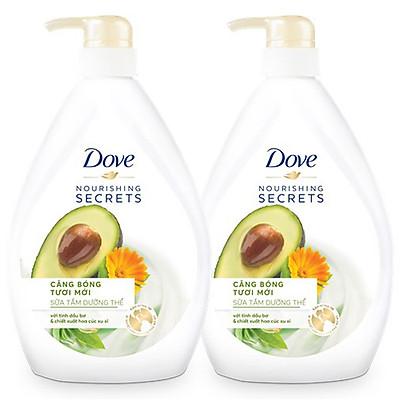 Combo Sữa tắm dưỡng thể từ thiên nhiên Dove Căng bóng tươi mới với chiết xuất bơ và hoa cúc Calendula 530g x 2