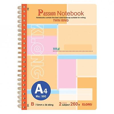 Sổ lò xo kép bìa nhựa A4 - 260 trang; Klong TP900 màu cam