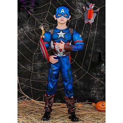 Trang Phục Đội Trưởng Mỹ Captain America Dành Cho Trẻ Em Kèm Mặt Nạ