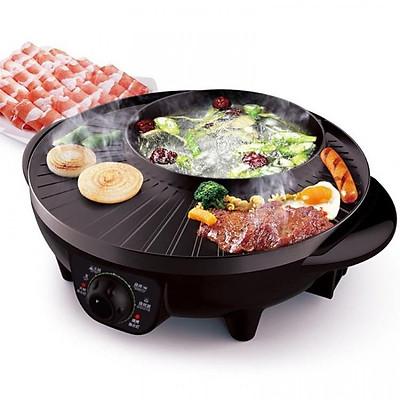 Bếp lẩu nướng tròn đa năng 2in1 1600W đường kính 38cm 1.8L (Đen)