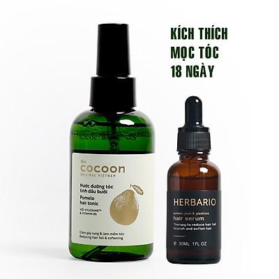 Nước xịt dưỡng tóc tinh dầu bưởi pomelo cocoon 140ml + Serum mọc tóc pomelo bồ kết herbario 30ml