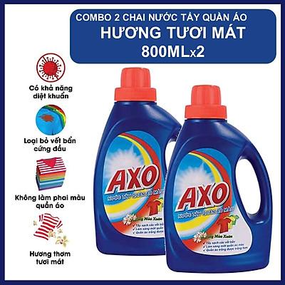 COMBO 2 Chai Nước Tẩy Quần Áo Axo Hương Tươi Mát 800ml X2