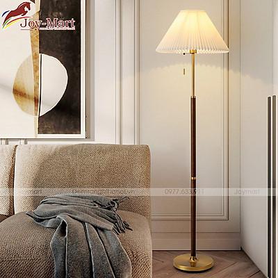 Đèn Ngủ Đứng - Đèn Cây Trang Trí Phòng Ngủ Thiết Kế Hiện Đại Sang Trọng Thân Gỗ Tự Nhiên Cao Cấp, Chao Vải Xếp Ly Đẹp, tặng Kèm Bóng LED ML8090
