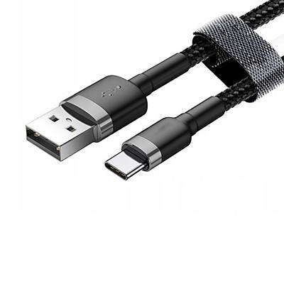 Cáp sạc USB Type C, Cáp sạc dùng cho điện thoại Xiaomi, samsung, HTC... Type C  3A màu đen, Dây dù dài 1M