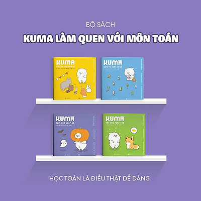 Combo 4 cuốn truyện tranh Ehon Nhật Bản - Kuma làm quen với môn Toán (Tập học phép trừ, Chơi trò ghép số, Cùng bé tập đếm số, Khám phá những con số ) - Dành cho trẻ từ 3 - 6 tuổi