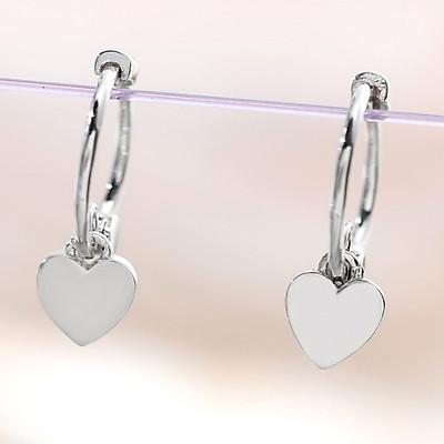 Bông Tai Nữ   Bông Tai Nữ Bạc Khuyên Tròn Đính Tim Đơn Giản B2362 - Bảo Ngọc Jewelry