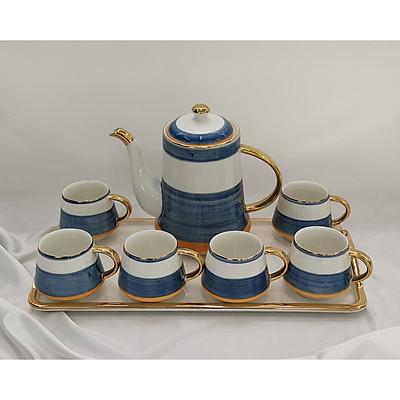 Bộ bình trà kèm khay màu trắng pha xanh,cam chất liệu sứ xương cao cấp