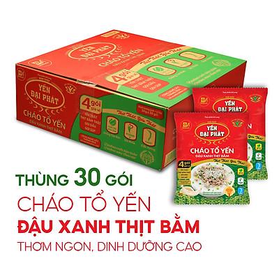 Cháo Tổ Yến Đậu Xanh Thịt Bằm - Yến Đại Phát (30 gói x 50gram / Thùng), 4 gói gia vị, ăn liền, tiện lợi.