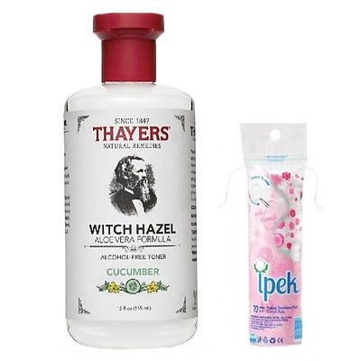 Nước hoa hồng không cồn Thayers Witch Hazel Cucumber 355ml + Tặng kèm bông tẩy trang Ipek 80 miếng