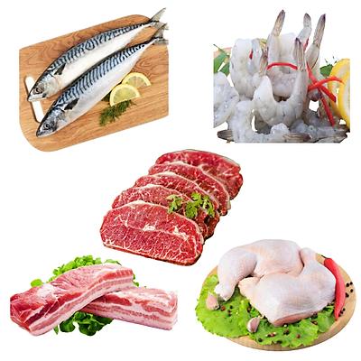 Combo 88: 1kg Cá saba Nhật + 1kg Tôm thẻ lột vỏ còn đuôi + 500gr Lõi vai bò Mỹ + 1kg Ba chỉ heo rút sườn + 1kg Đùi gà góc tư
