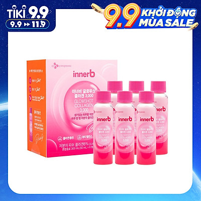 Hộp 6 chai nước uống Collagen Vitamin C sáng da InnerB Glowshot (50mlx6) - Sản Phẩm Chính Hãng