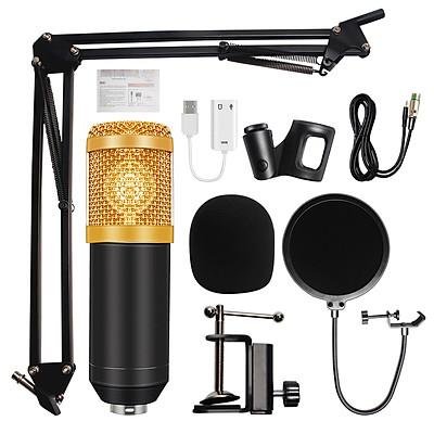 Micrô BM-800 Condenser Âm thanh 3,5 phòng thu có dây Ghi âm KTV Karaoke Micrô đặt Mic W / Đế cho máy tính
