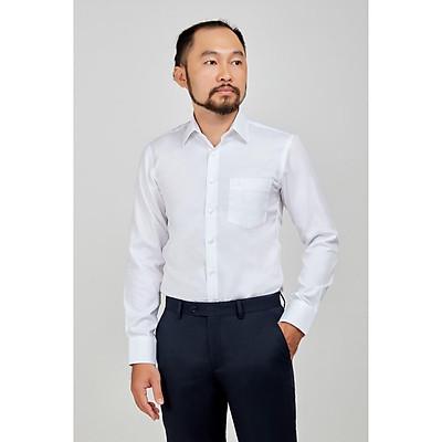 áo sơ mi trung niên dài tay trắng trơn cotton loại 1 mặc mát