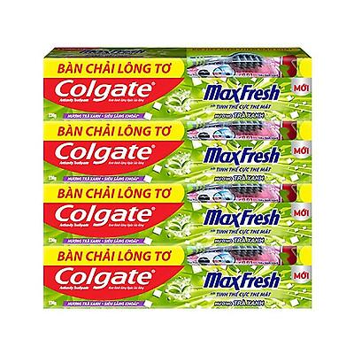 Bộ 4 Kem đánh răng Colgate Trà Xanh the mát Maxfresh 230g/tuýp tặng bàn chải đánh răng lông tơ cao cấp