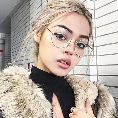 Gọng kính Mắt tròn kim loại thời trang