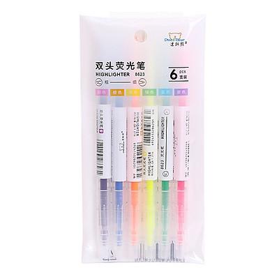 Set 6 -2 đầu 2 màu khác nhau Bút Dạ Quang, Bút Highlight, Bút đánh dấu dòng , ghi nhớ nhiều màu đẹp ( giao màu ngẫu nhiên)