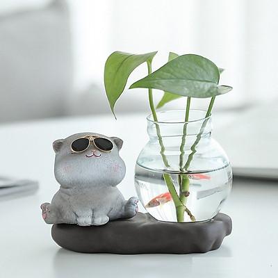 Mô hình mèo đeo kính ngộ nghĩnh có chậu thủy tinh trồng cây, nuôi cá