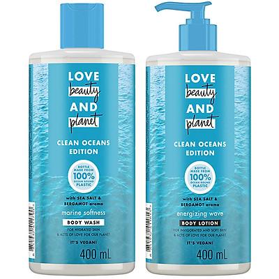 Combo sữa tắm và sữa dưỡng thể Love Beauty And Planet Oceans Edition chăm da mềm mịn Marine Softness 400ml