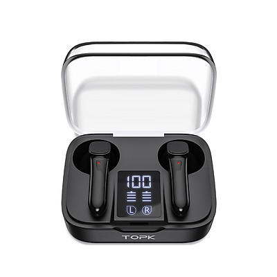 Tai Nghe Không Dây TOPK T20.2 TWS Bluetooth 5.0 Chống Nước, Có Mic và Đồng Hồ Hiển Thị Pin - Hàng chính hãng