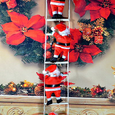 25cm/50cm Hanging Pendant Santa Claus Climbing Rope Ladder Christmas Household Party Decoration