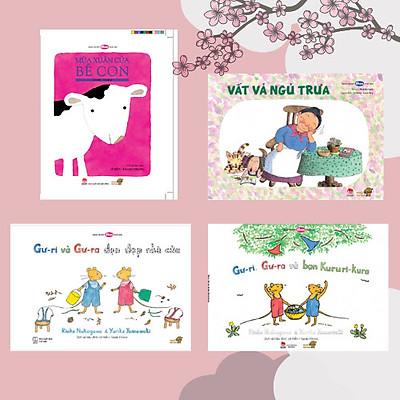 Mùa xuân của Bé đến rồi! - Combo 4 cuốn Ehon Nhật Bản kích thích khả năng sáng tạo và tư duy của bé. Bao gồm: Mùa xuân của Bê con, Vất vả ngủ trưa, Gư-ri và Gư-ra dọn dẹp nhà cửa, Gư-ri, Gư-ra và bạn Kururi Kura.