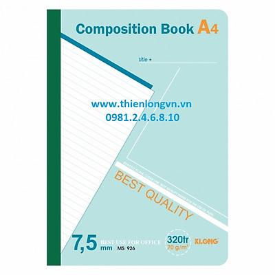 Sổ may dán gáy A4 - 320 trang; Klong 926 bìa xanh lá