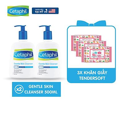 [Tặng 3 gói khăn giấy ướt Tender] Combo 2 Sữa rửa mặt làm sạch dịu nhẹ không xà phòng Cetaphil Gentle Skin Cleanser 500ml/chai