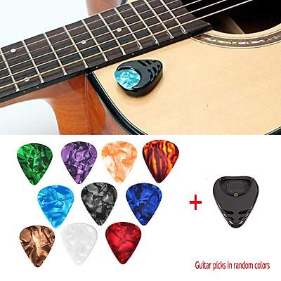 10 Pcs Guitar Picks & Guitar Pick Holder Set for Acoustic Guitar Electric Guitar Bass Ukulele Stick-on Holder (Picks Random Color)