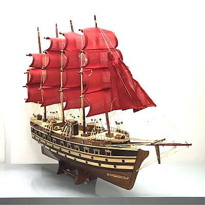 Mô Hình Thuyền Gỗ Chiến Cổ Jylland (Thân 60cm - Buồm Đỏ)
