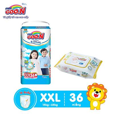 Tã Quần Goo.n Premium Cao Cấp Gói Cực Đại Size XXL36 (36 Miếng) + Tặng bịch khăn ướt Goo.N Premium 80 miếng cao cấp